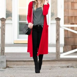 LULAROE Red Sarah Duster Cardigan with Pockets M